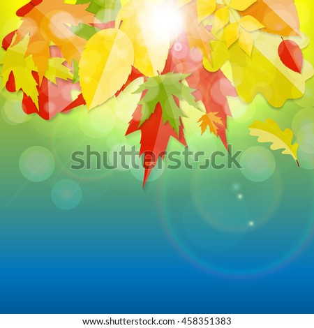 Shiny Autumn Natural Leaves Background. Vector Illustration EPS10 - stock vector