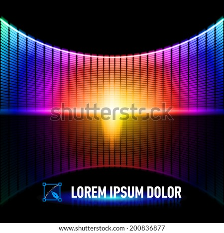 Shiny background with multicolored digital music equalizer - stock vector