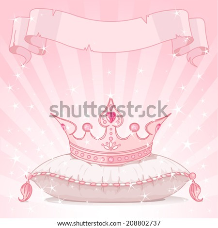 Shiny background with Princess crown on pink pillow - stock vector