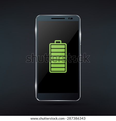 Shiny black smartphone with green full battery icon. Realistic vector illustration - stock vector