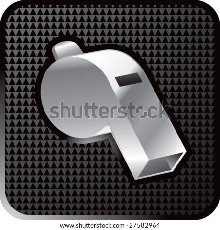 shiny black whistle icon - stock vector