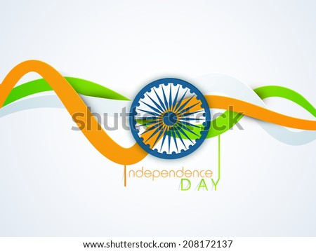 Shiny blue Asoka Wheel with national tricolors stripe on blue background for 15th of August, Indian Independence Day celebrations.  - stock vector