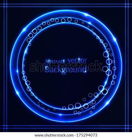 Shiny blue circles background. Vector illustration with space for your text. - stock vector