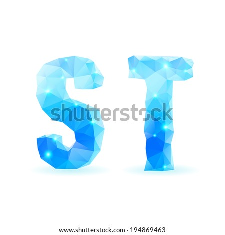 Shiny blue polygonal font. Crystal style S and T letters - stock vector