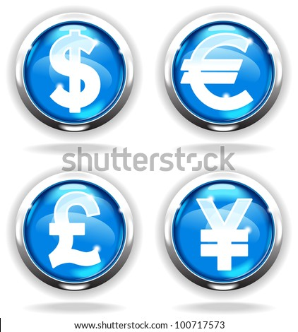 shiny bright button with the Currency . File is saved in AI10 EPS version. This illustration contains a transparency - stock vector