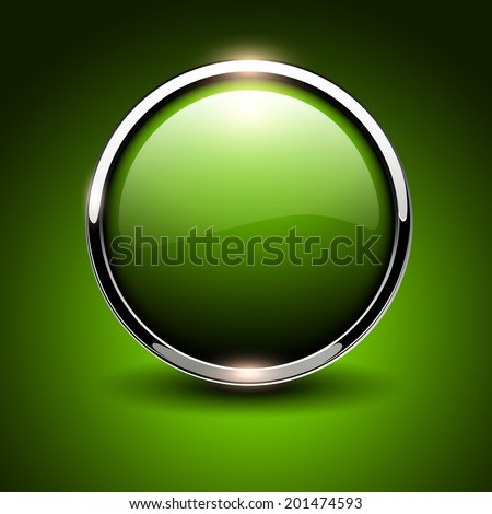 Shiny button green glossy metallic, vector illustration - stock vector