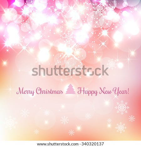 Shiny Christmas and New Year background with snowflakes, light, stars. Vector Illustration. Xmas card - stock vector