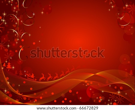 Shiny  Christmas backdrop with deers  team - stock vector
