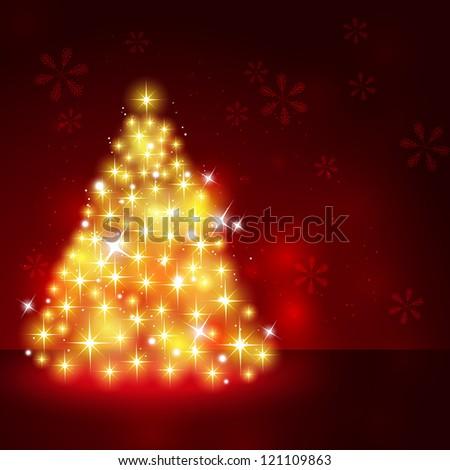 Shiny Christmas card with Xmas tree - stock vector