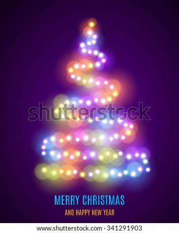 Shiny Christmas tree. Christmas tree from the garland. Glowing Lights - Colorful Fairy Lights Background. Christmas Lights Background. template design. Vector illustration - stock vector