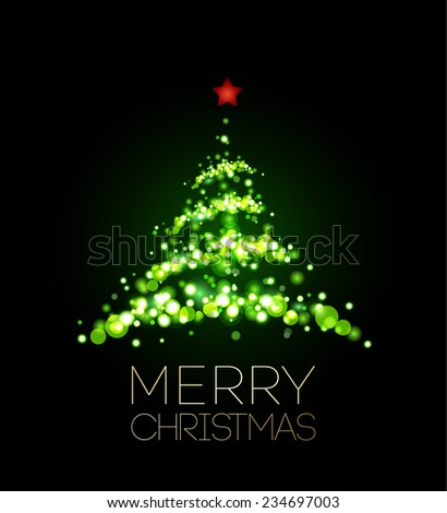 Shiny Christmas tree  in black poster . Vector illustration. - stock vector