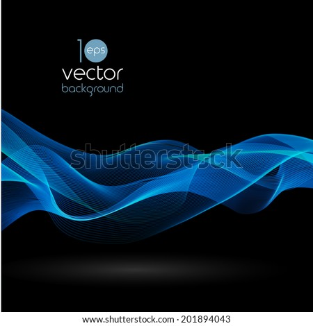 Shiny color smoke waves over dark vector backgrounds - stock vector
