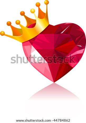 Shiny crystal love heart with gold crown - stock vector