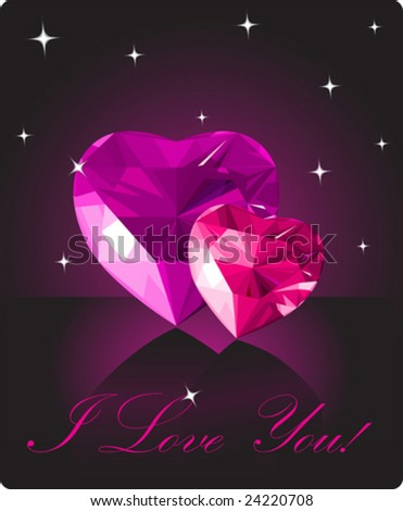 Shiny crystal love hearts on black background - stock vector