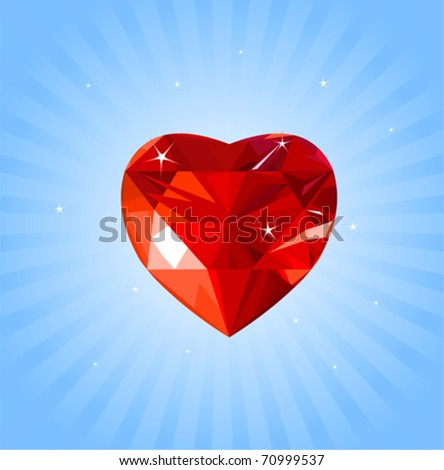 Shiny crystal love hearts on radial background - stock vector