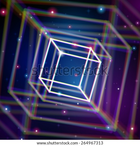 Shiny cube structure with color aberrations in space - stock vector