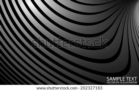 Shiny curved vector background template - Silver metal abstract vector background illustration - stock vector