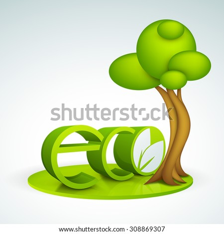 Shiny 3D text Eco with creative tree for Save Nature or Ecology concept. - stock vector