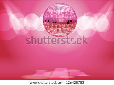 Shiny Disco Ball Party Background Vector - stock vector