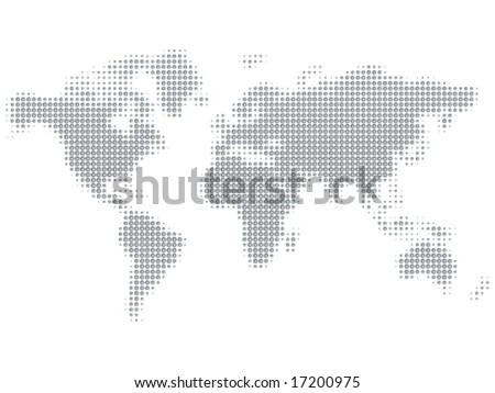 shiny doted map - stock vector