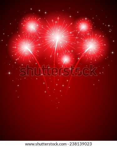 Shiny firework and stars on red background, illustration. - stock vector