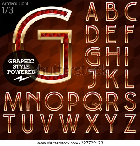 Shiny font of gold and diamond vector illustration. Artdeco light. File contains graphic styles available in Illustrator - stock vector