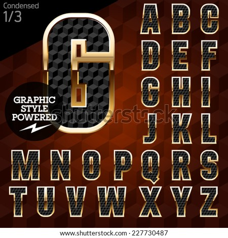 Shiny font of gold and diamond vector illustration.Condensed. File contains graphic styles available in Illustrator - stock vector