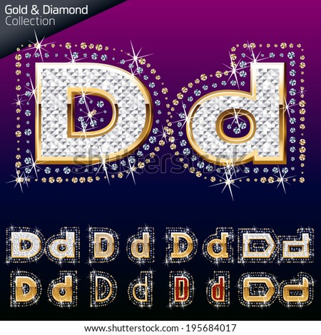 Shiny font of gold and diamond vector illustration. Letter d - stock vector