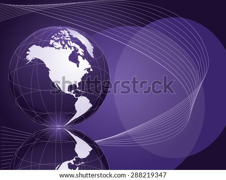 Shiny globe orbs vector background illustration in dark purple, magenta, blue and green. - stock vector