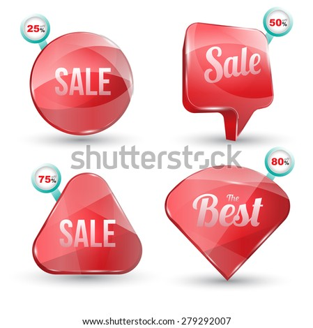 Shiny gloss red banner sale set. Vector illustration. Can use for promotion and advertising on printing and website. - stock vector