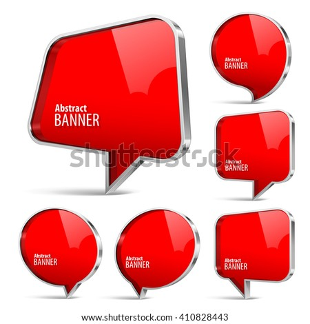Shiny gloss red banner. Set on a white background. Vector illustration. - stock vector