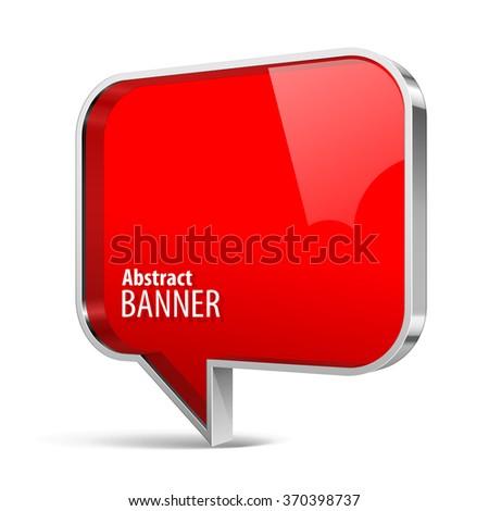 Shiny gloss red plastic banner. Vector speech bubbles eps 10 - stock vector