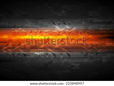 Shiny glow arrows orange background. Vector illustration - stock vector