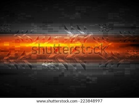 Shiny glow arrows orange background. Vector illustration - stock vector