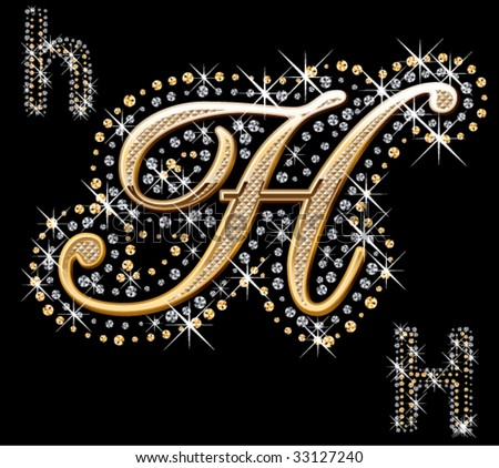 shiny gold and diamond letter - stock vector