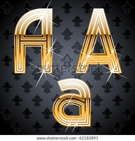 Shiny golden alphabet on a chic victorian background. Character a - stock vector