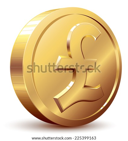 Shiny golden pound symbol. Eps8. CMYK. Organized by layers. Global colors. Gradients used. - stock vector