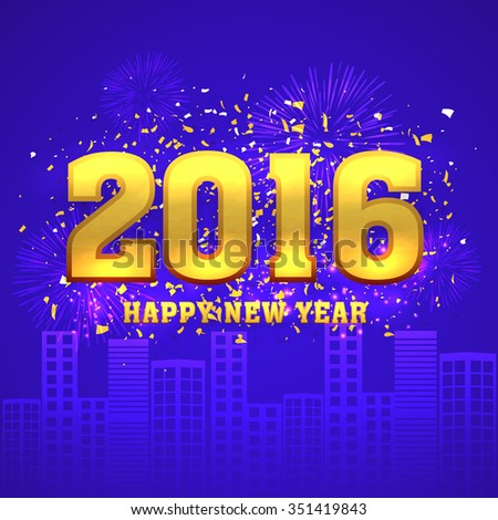 Shiny golden text 2016 on fireworks decorated urban city background for Happy New Year celebration. - stock vector