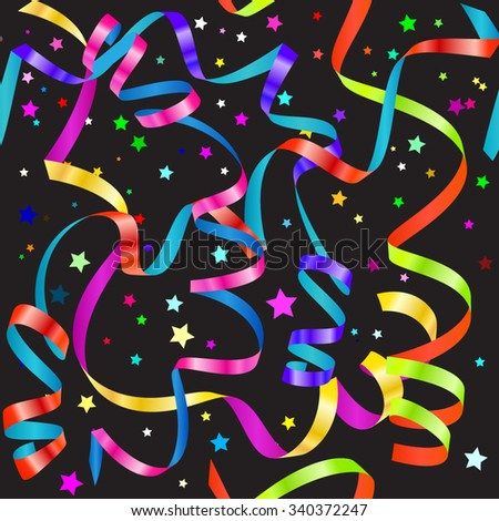 Shiny gradient curling serpentine and confetti seamless pattern - stock vector