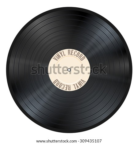 Shiny gramophone vinyl LP record with beige label. Black musical long play album disc 33 rpm. old technology, realistic retro design, vector art image illustration, isolated on white background eps10 - stock vector