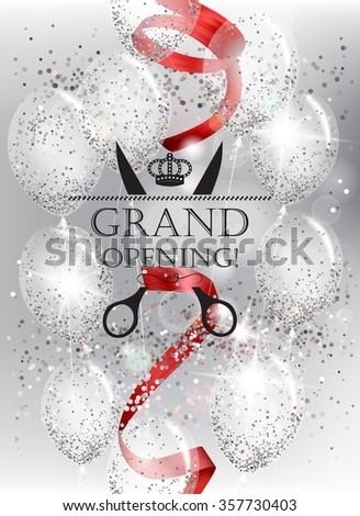 Shiny grand opening background with red ribbon - stock vector