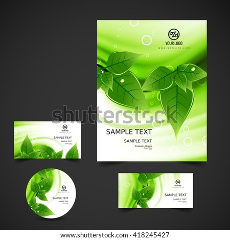 Shiny green business stationery - stock vector