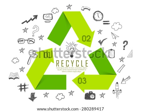 Shiny green recycle sign or symbol surrounded by various infographic elements on white background. - stock vector
