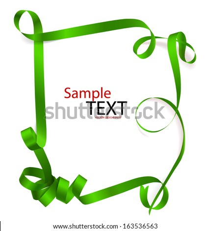 Shiny green ribbon on white background with copy space. Vector illustration. - stock vector
