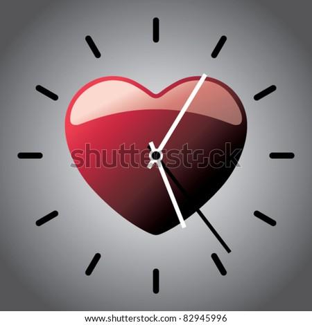 Shiny heart clock. - stock vector