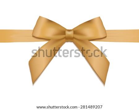Shiny holiday gold satin ribbon on white background. Vector - stock vector