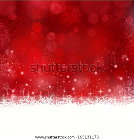 Shiny light effects with blurry lights and glittering snowflakes in shades of red and a wavy contour. Great for the festive season of Christmas to come. - stock vector