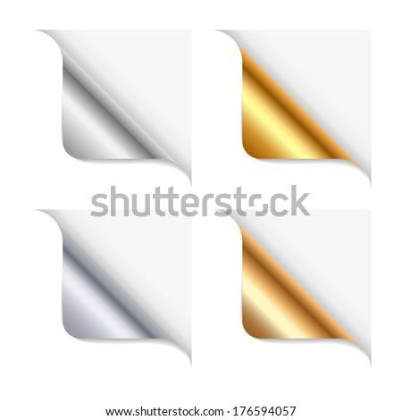 Shiny metallic page-peel - stock vector