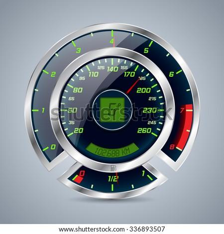 Shiny metallic speedometer with big rev counter - stock vector