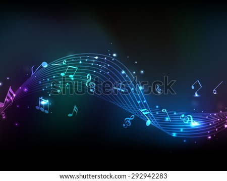 Shiny musical wave with notes on stylish background. - stock vector